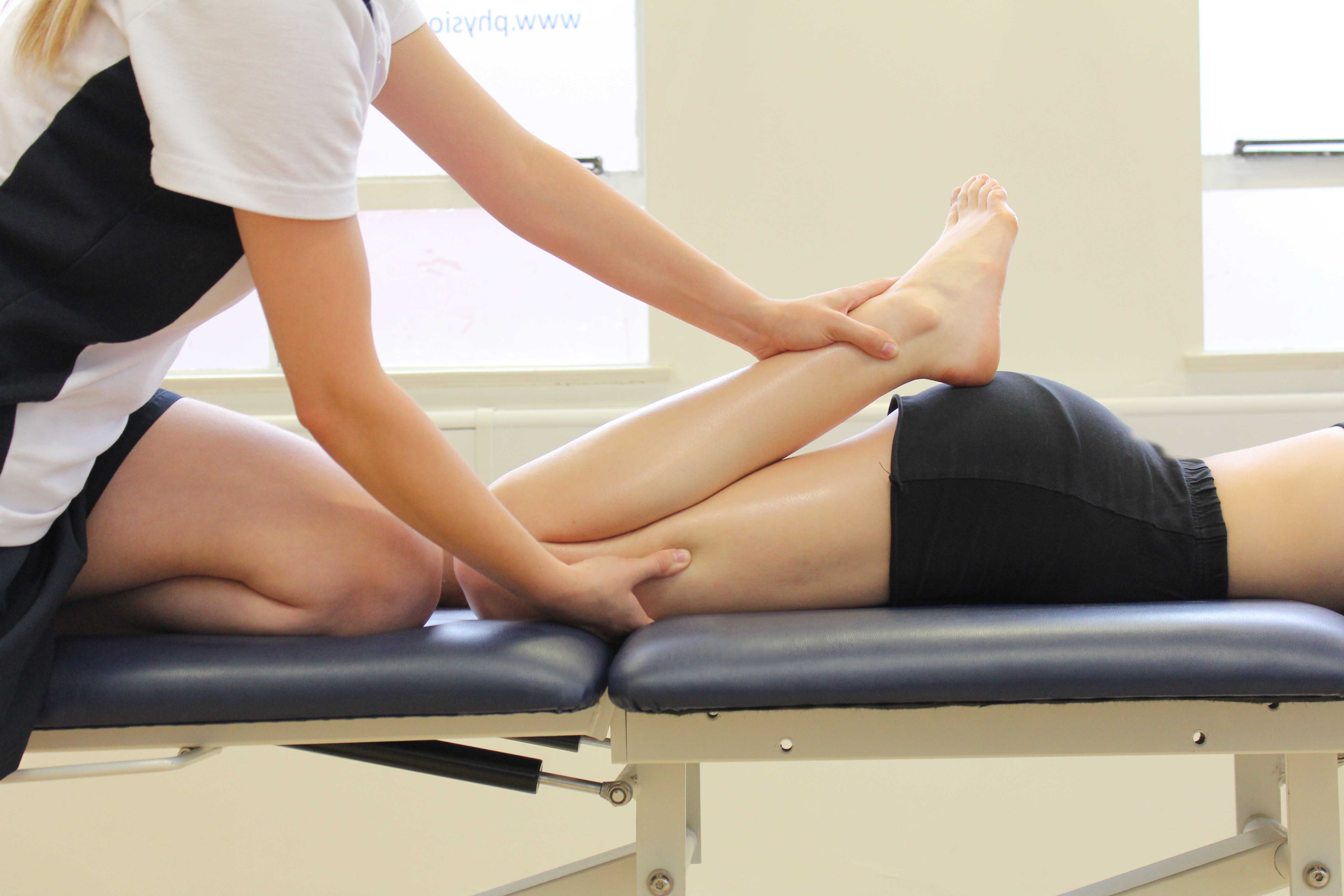 Quadricep and hip fexor stretch passively applied by a physiotherapist