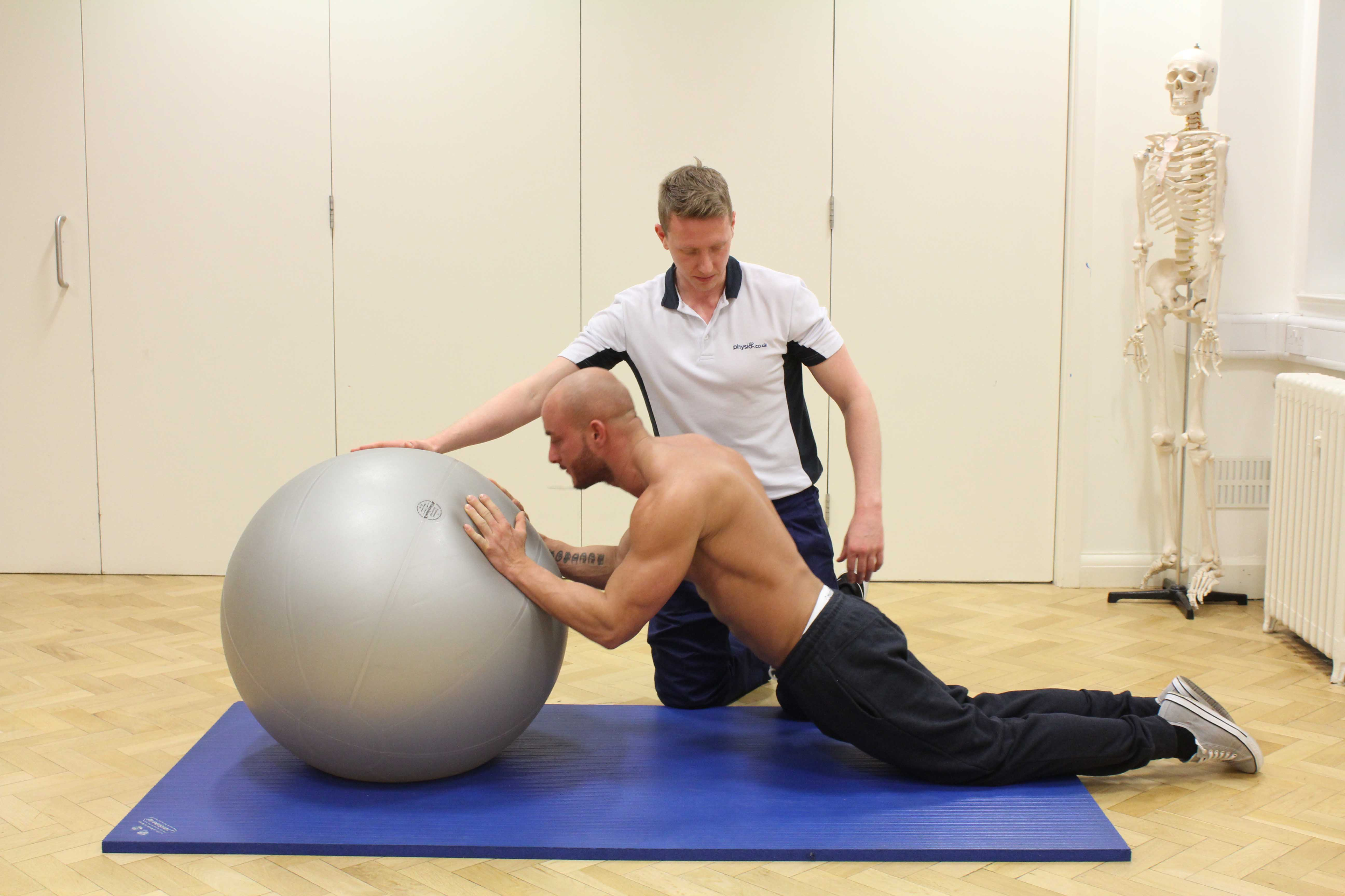 Core stability exercises supervised by an experienced physiotherapist